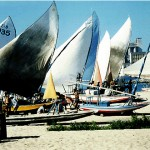 Le jangadas, tipiche imbarcazioni di Fortaleza, ormeggiate nel porto
